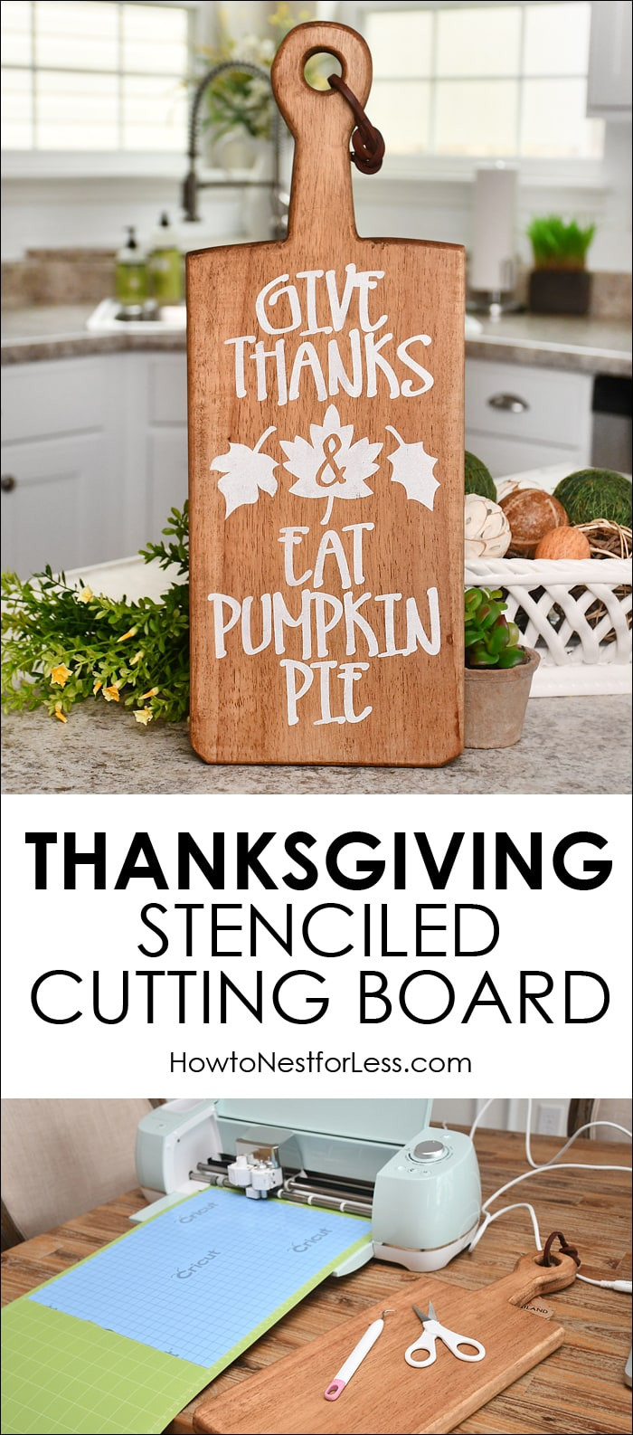 Thanksgiving Stenciled Cutting Board Cricut Holiday Project
