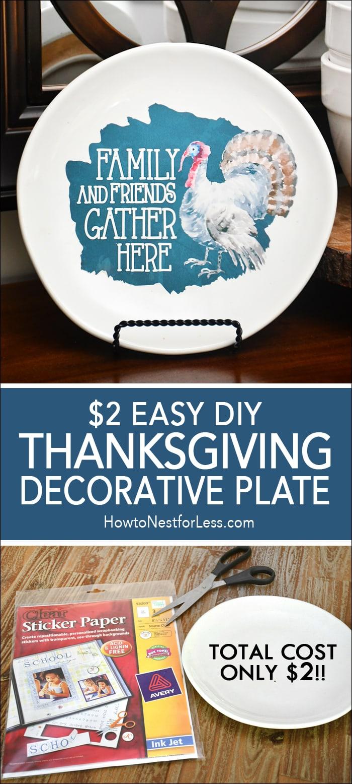 DIY Thanksgiving Decorative Plate - Under $2 to Make!