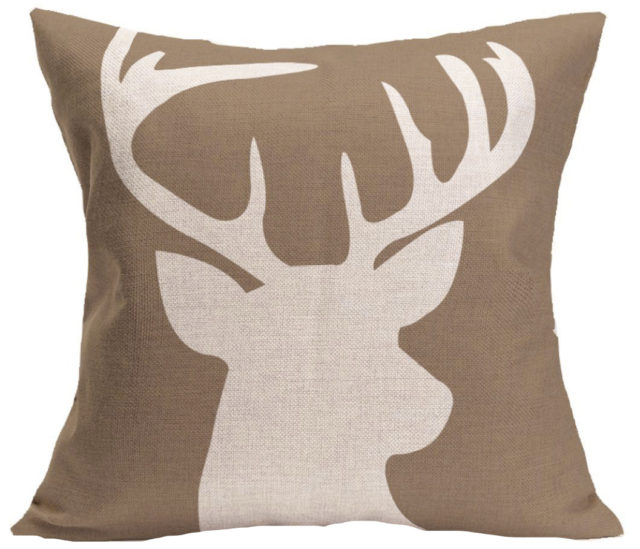 BEIGE REINDEER pillow cover
