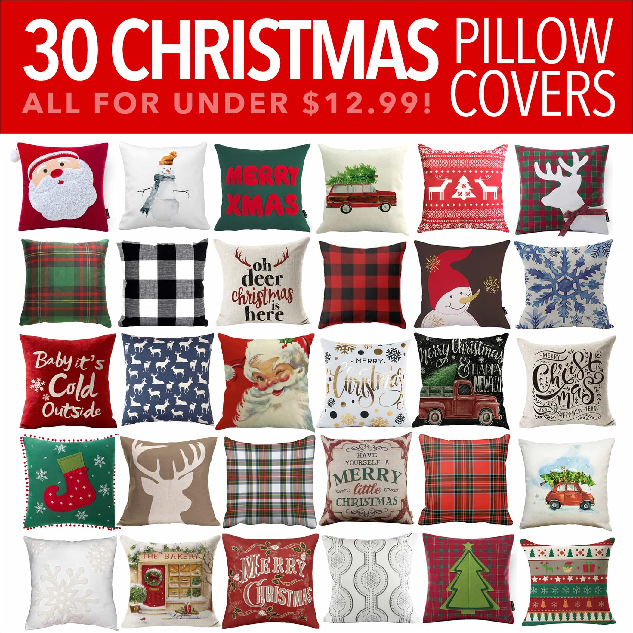 30 Christmas Pillow Covers For Under 13 Holiday Pillow Covers