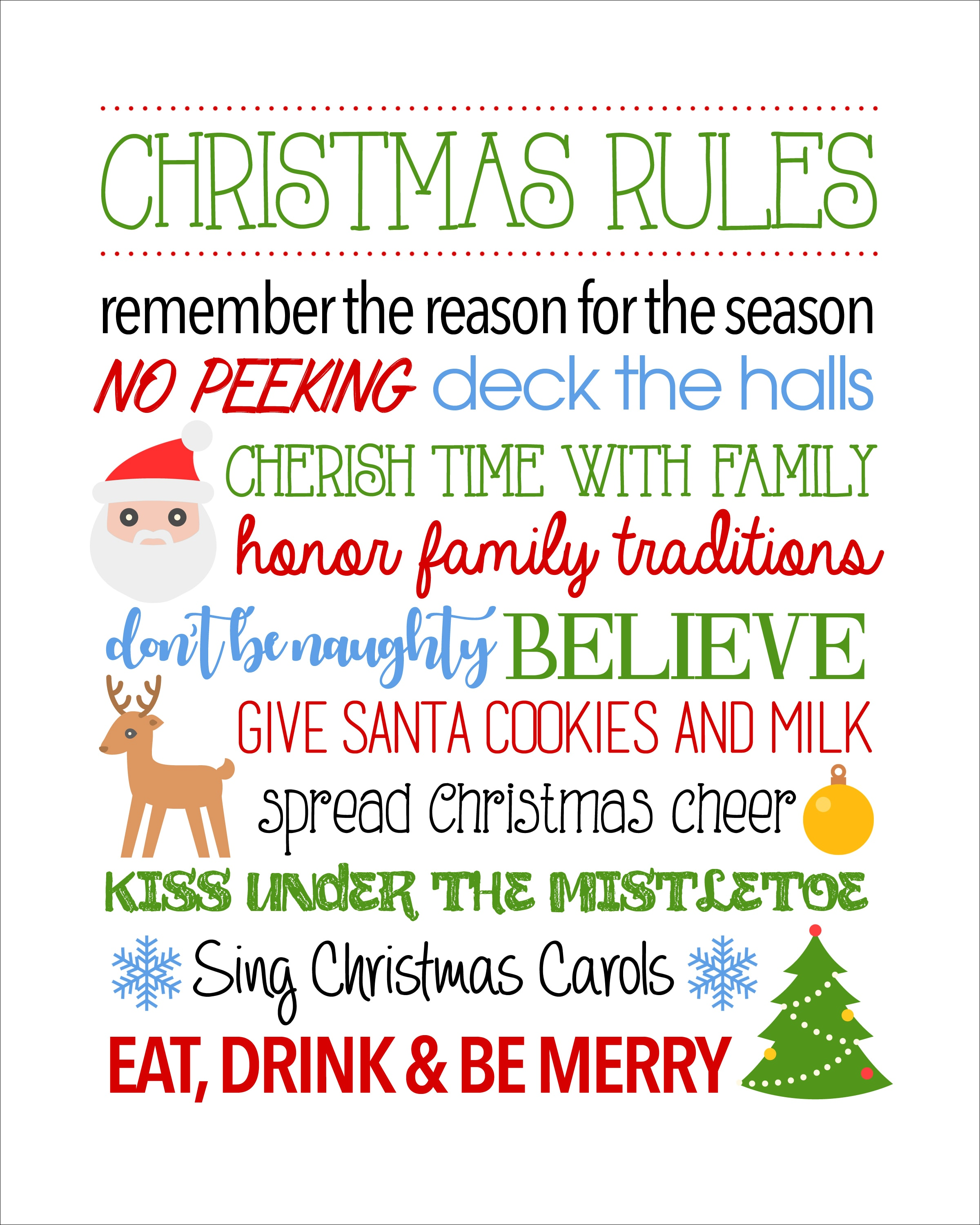 Christmas rules free printable