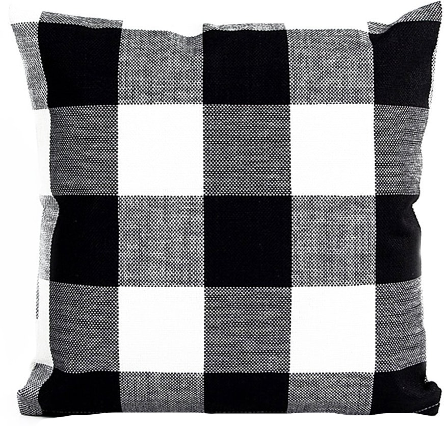 black white buffalo check pillow cover