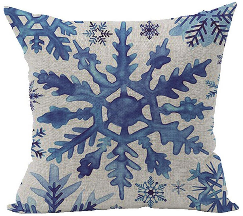 blue snowflake pillow cover