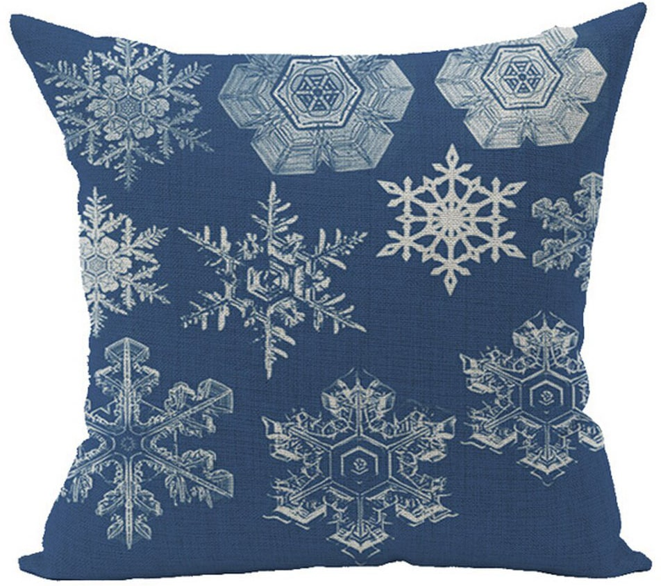 blue snowflake pillow