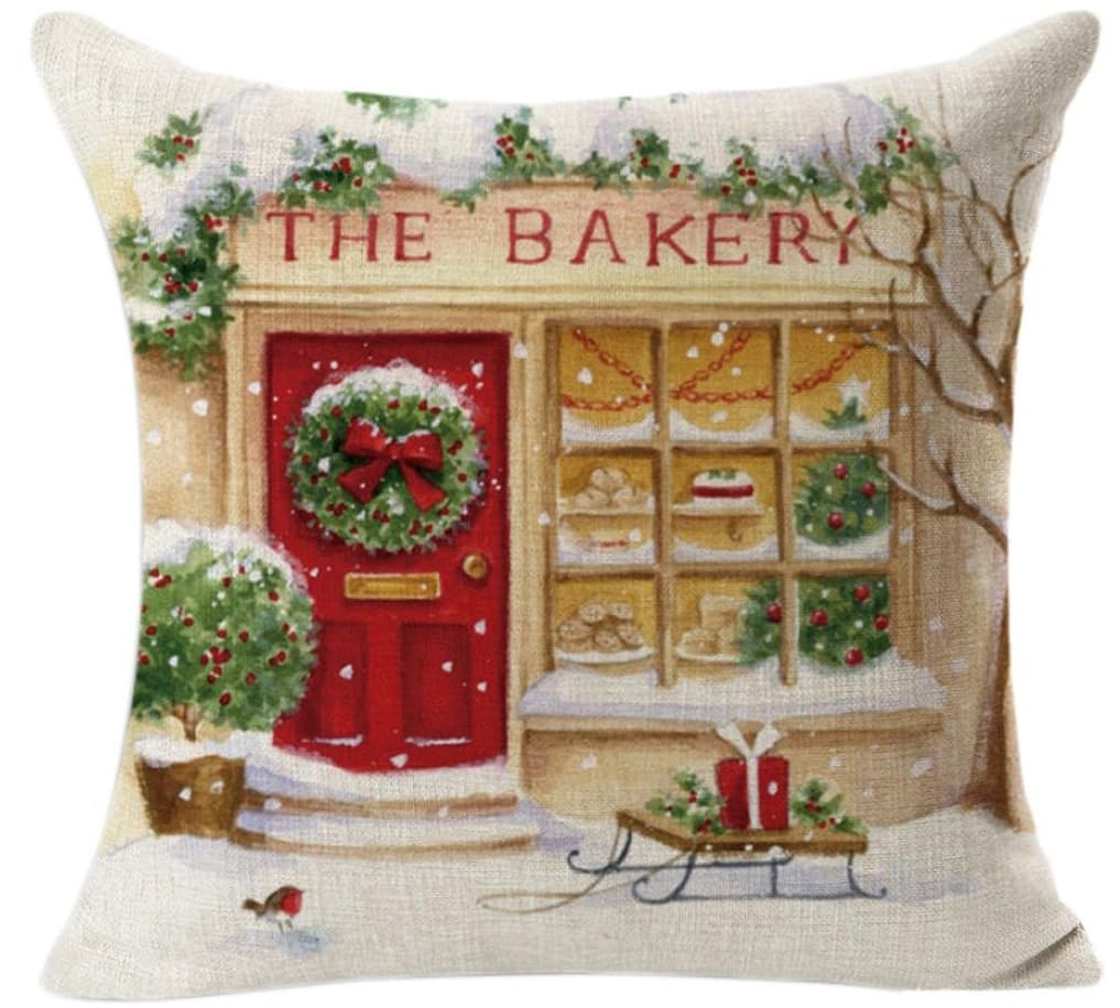 christmas bakery pillow cover