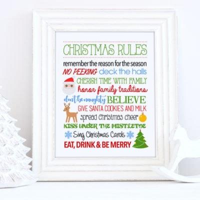 Christmas Rules Free Printable