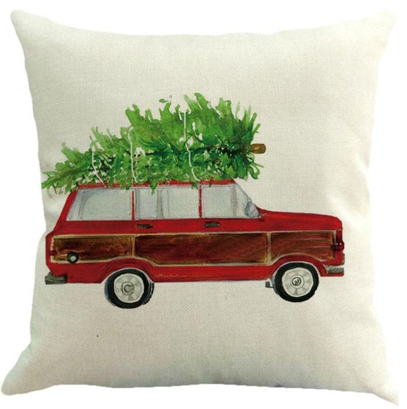 christmas wagon pillow cover