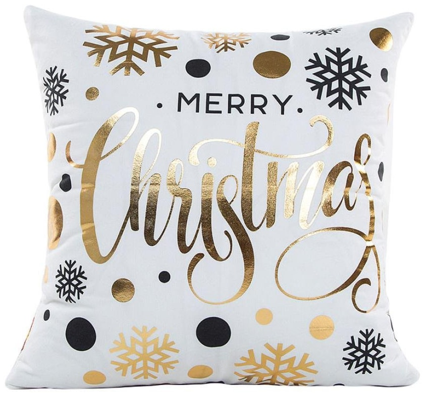 gold christmas pillow cover