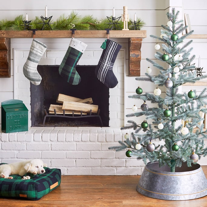 An aluminum Christmas tree collar around the tree, and a white washed fireplace with stockings in hung up in front of it.