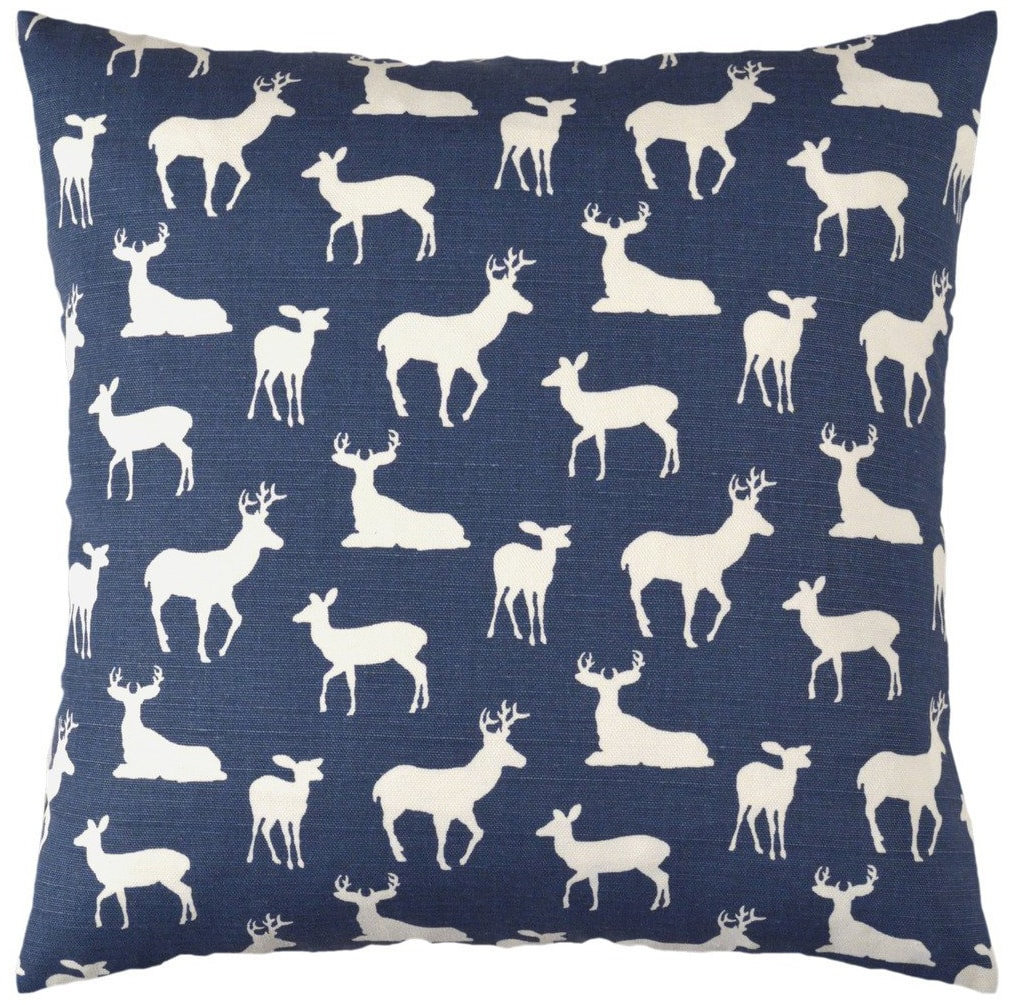 navy reindeer pillow cover