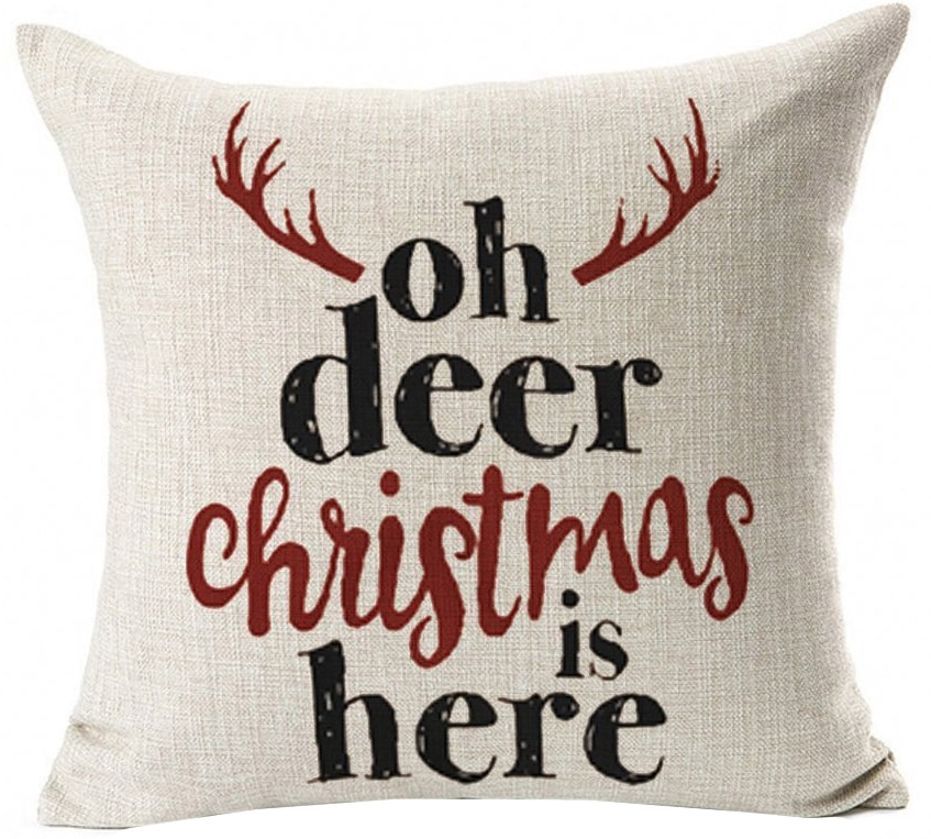 oh deer christmas pillow cover