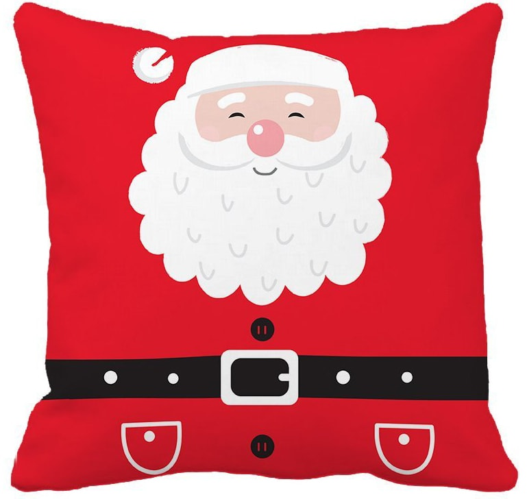 red santa pillow cover