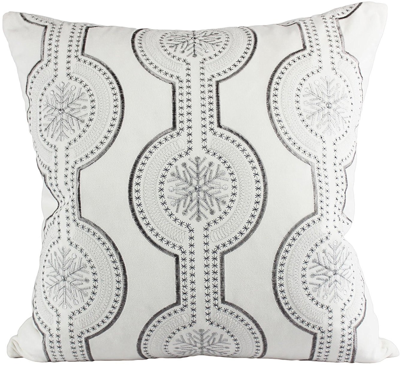 silver snowflake pillow cover