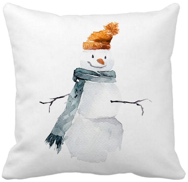 watercolor snowman pillow cover