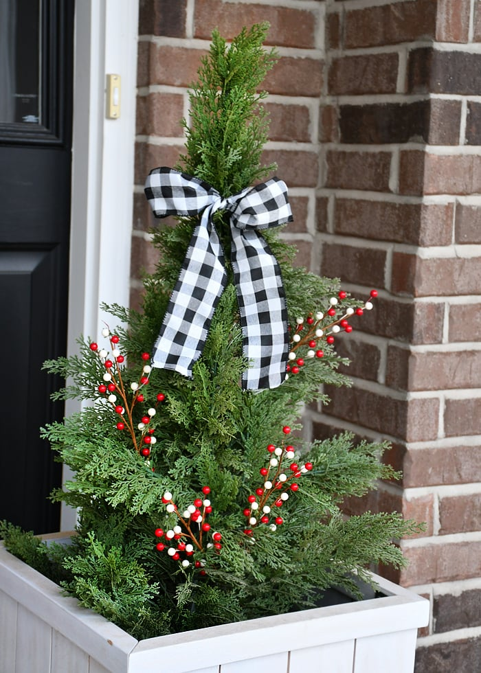 christmas front porch topiaries