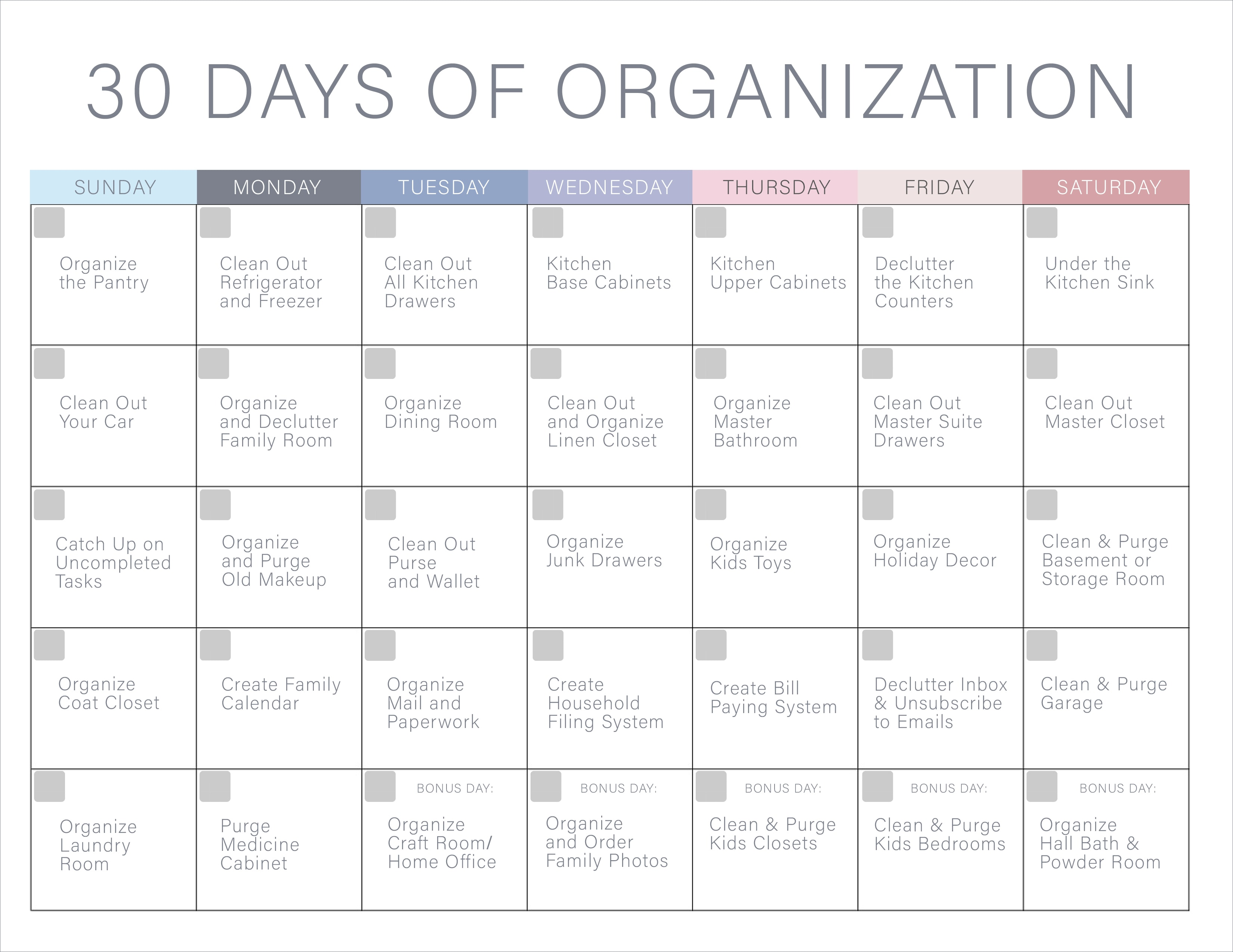30 days of organization challenge