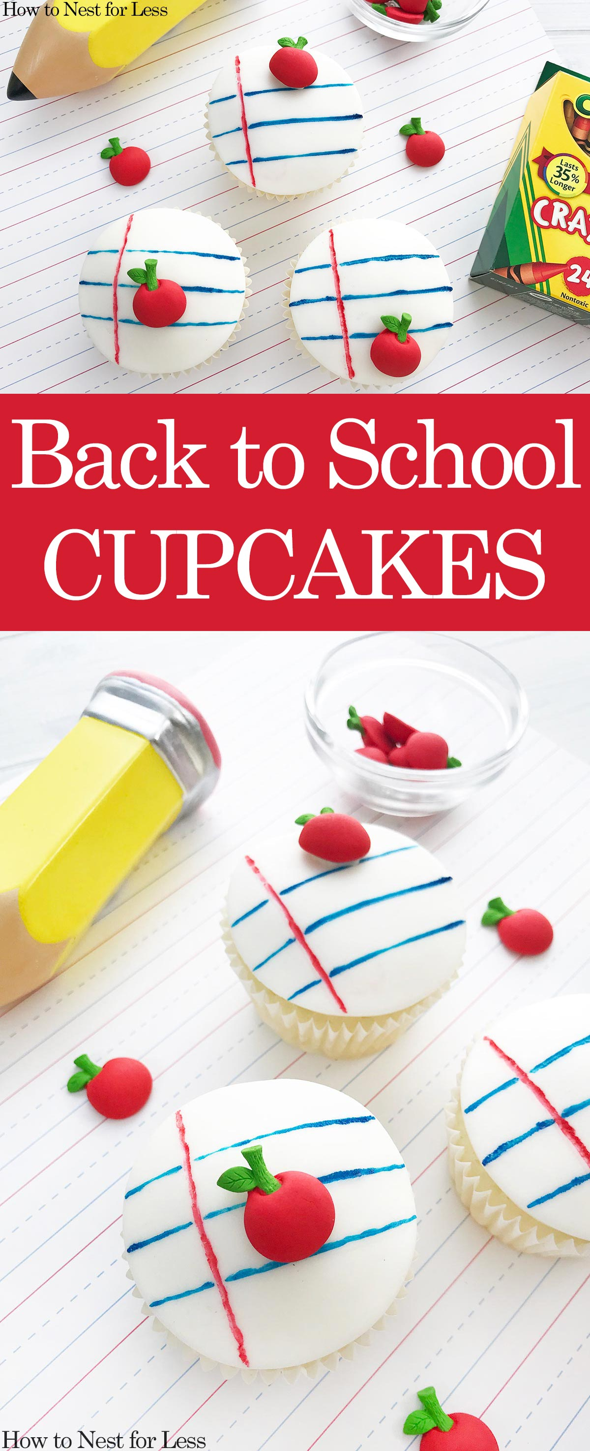 Back to School Notebook Cupcakes poster.
