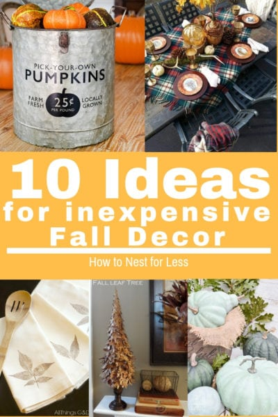 10 ideas for inexpensive fall decor poster.