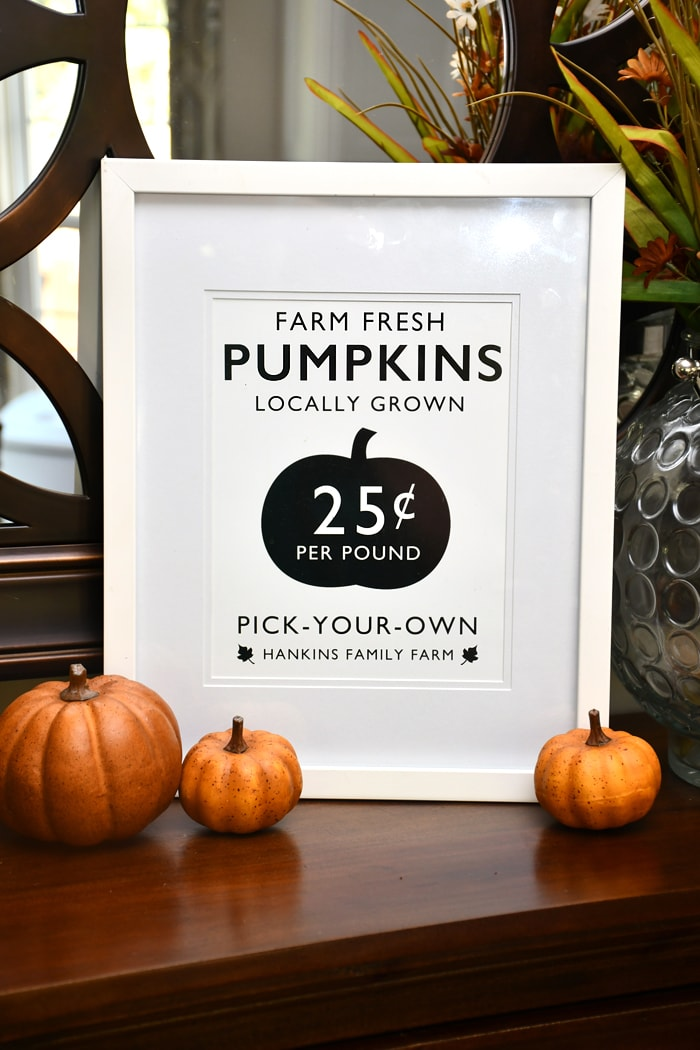 A Farm Fresh Pumpkin printable framed in white sitting on the dresser.