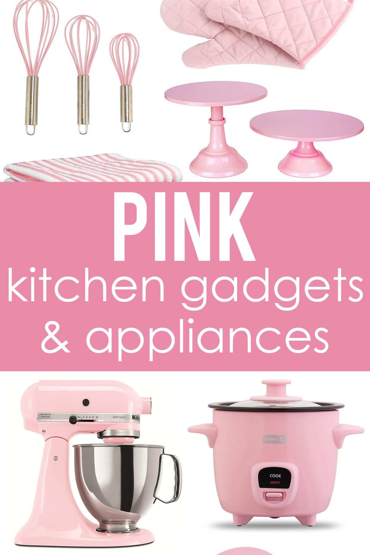 Pink kitchen gadgets and appliances! The perfect pink pops of color for a kitchen!
