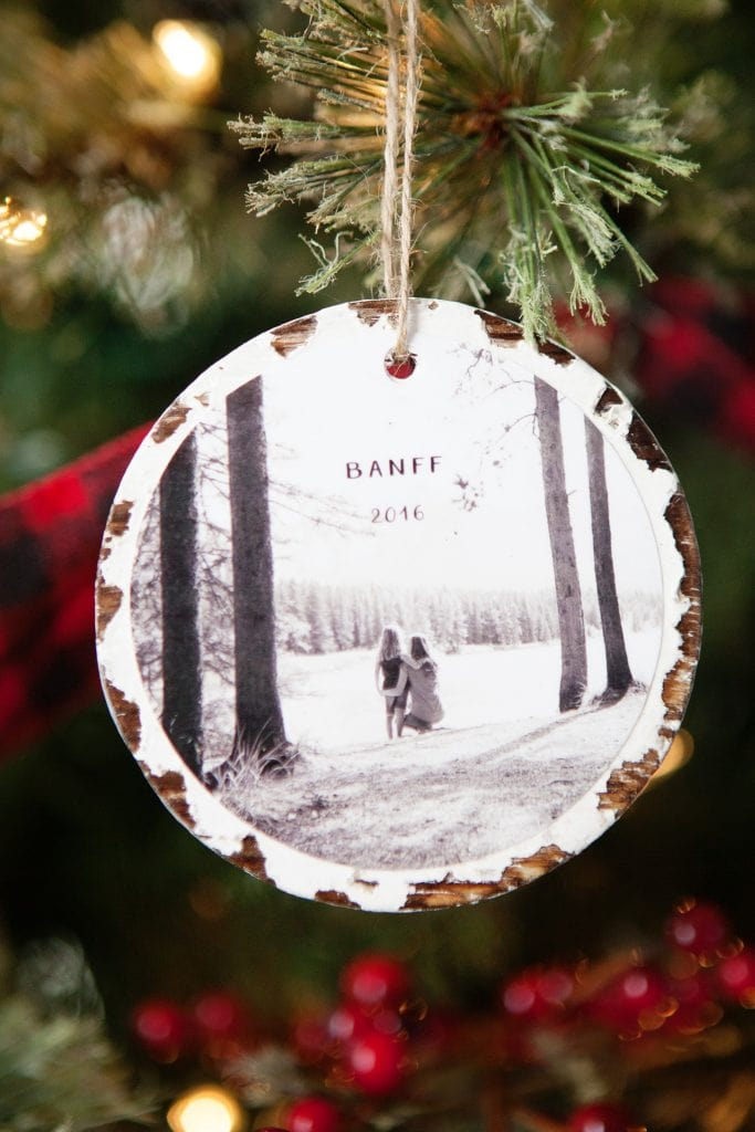 A photographic ornament hanging on the tree.