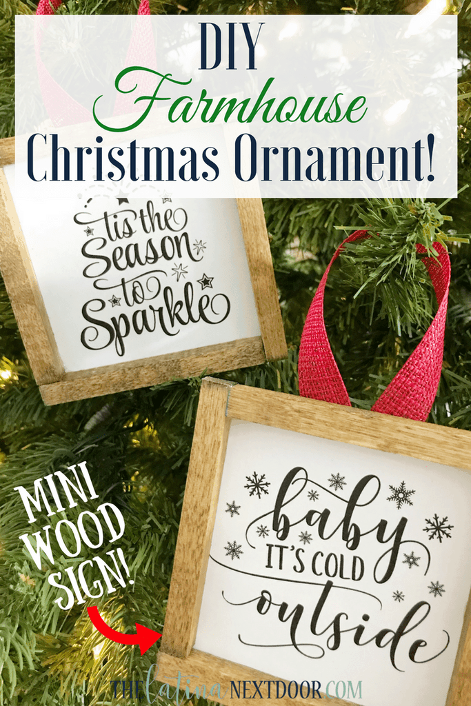 Rustic Christmas sayings framed with fabric ties on the tree.