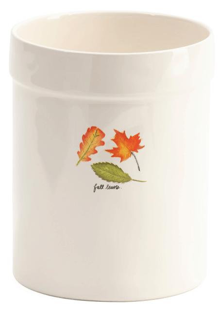 fall leave utensil crock