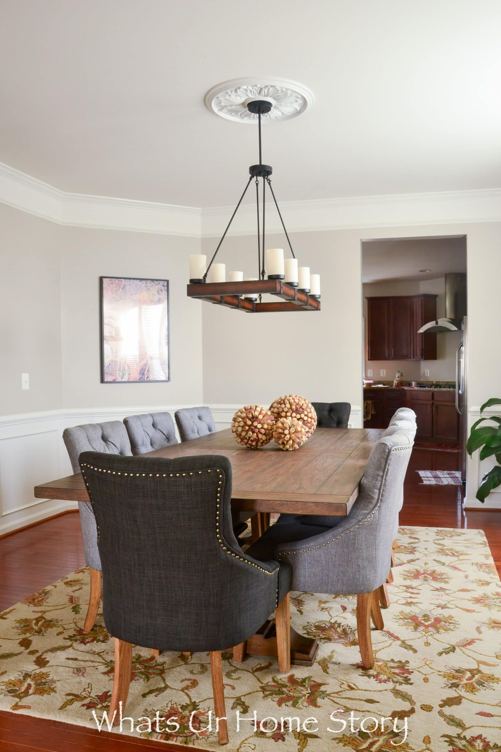 Traditional dining room with fabric chairs and Revere Pewter walls