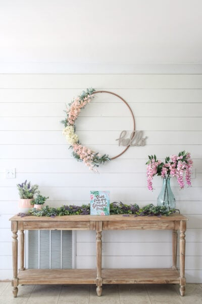 shiplap accent wall with spring decor