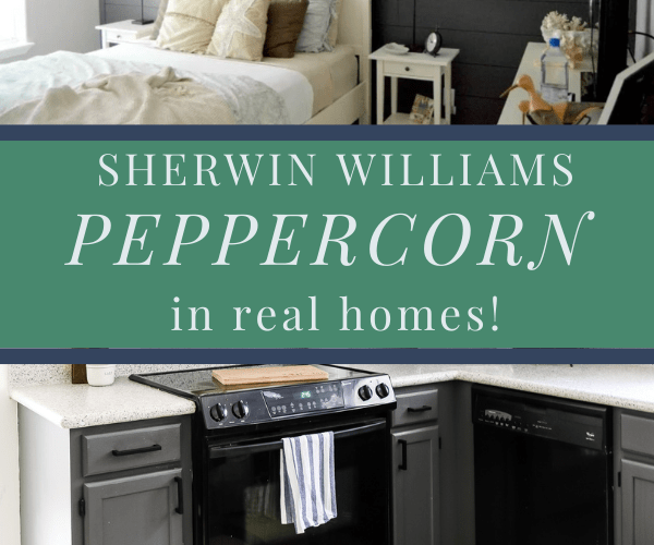Sherwin Williams Peppercorn in real homes graphic